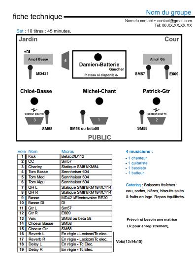 La Fiche Technique Du Groupe Exemple A Telecharger Et Modifier